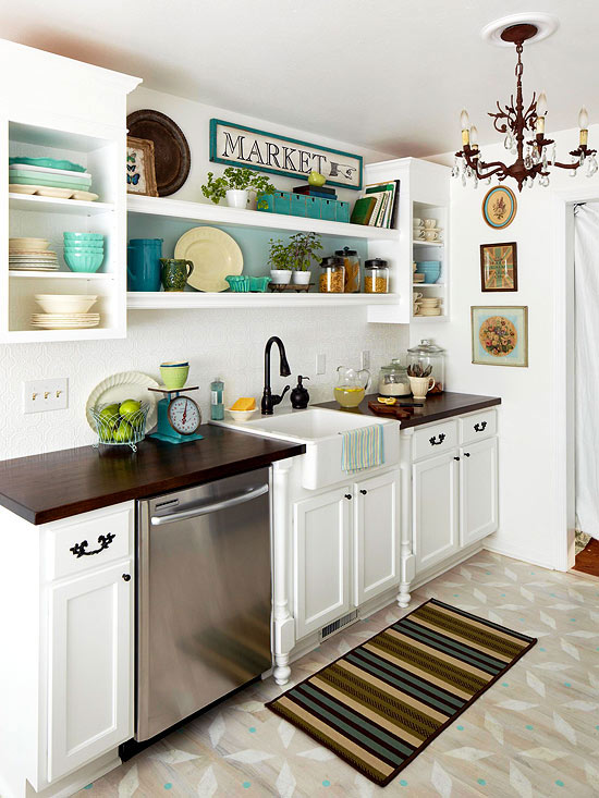 one wall kitchen layout with apron sink featured on Remodelaholic.com via BHG