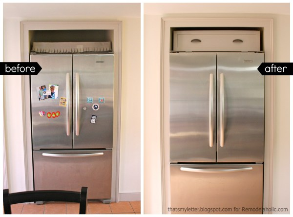 over fridge cabinet before after
