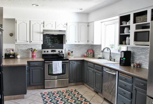 peninsula kitchen layout in gray via Remodelaholic