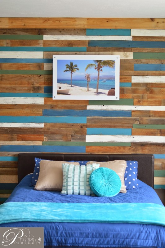 rustic plank headboard wall - accent wall, Pearls Pinstripes and Peanut Butter on Remodelaholic