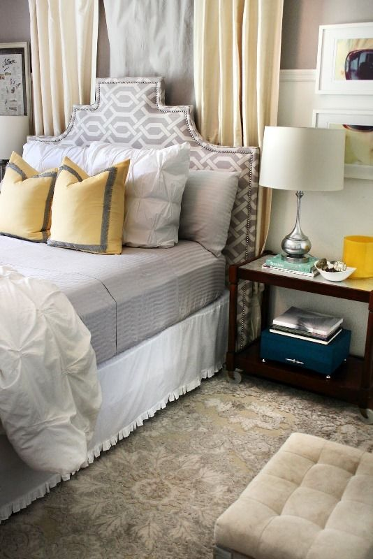 scooped stepped headboard via The Hunted Interior