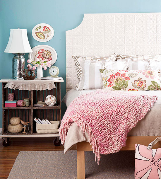 square scooped corner headboard via BHG