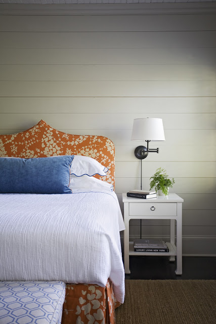 teardrop ogee orange floral headboard, Abney and Morton via Blue Chickadee