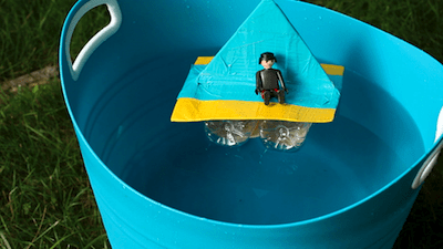 Build a water bottle raft with your kids. From Crafts for kids, PBS Parents on Remodelaholic