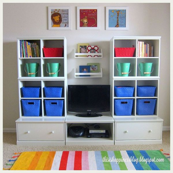 Bright Organized Playroom Storage