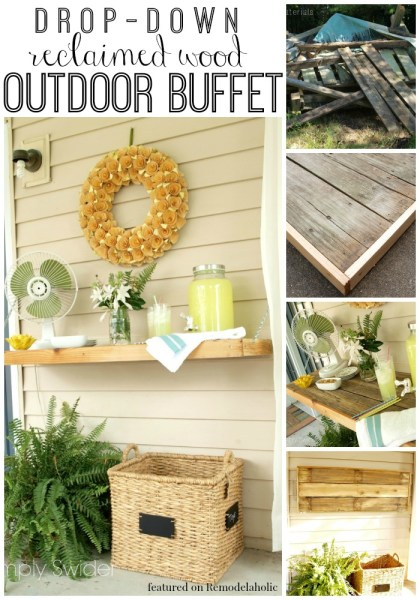 Drop-Down Reclaimed Wood Outdoor Buffet, Simply Swider featured on Remodelaholic