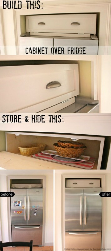 Build an over-the-fridge cabinet! Tutorial from That's My Letter for Remodelaholic.com #diy #spacesaver #storage
