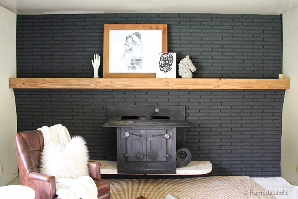 Remodelaholic Easy Wood Mantel For Brick Fireplace