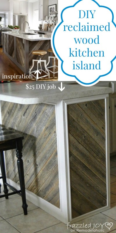 Reclaimed Wood Kitchen Island, Frazzled Joy on Remodelaholic
