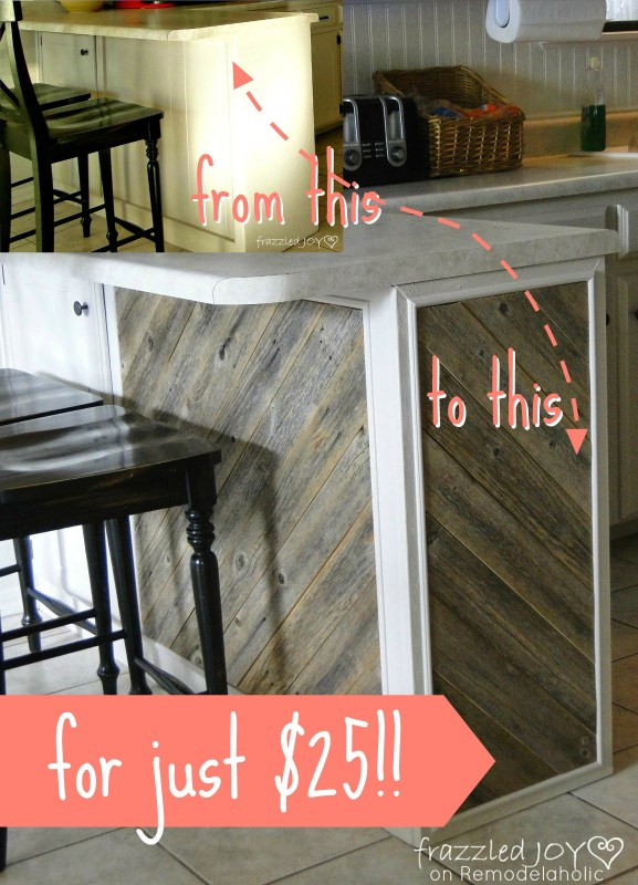 $25 Rustic Reclaimed Wood Plank Kitchen Island Tutorial, Frazzled Joy on Remodelaholic.com #kitchenisland #reclaimedwood