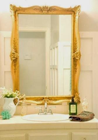 gold framed bathroom mirror