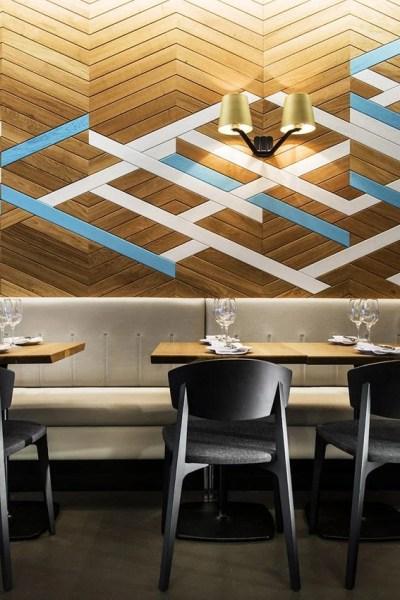 painted accent herringbone wood plank wall