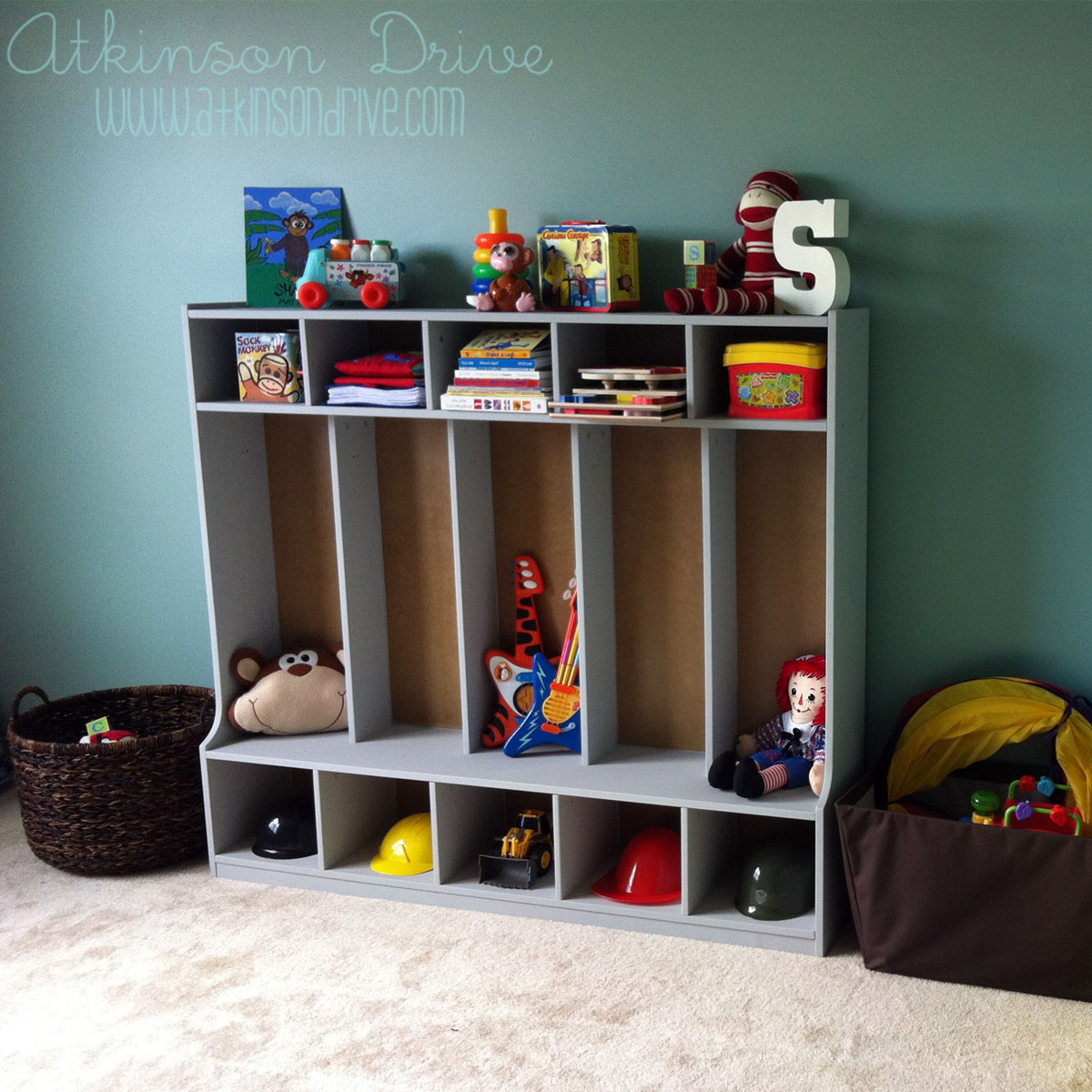 Toddler Locker Organization System via Atkinson Drive toy storage cubbies Atkinson Drive & Remodelaholic | 50 Smart Toy Storage Solutions