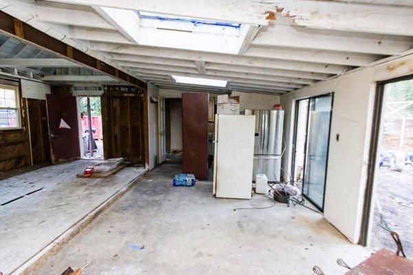 2 white subway tile marble open floor plan kitchen before renovation, Cobblestone DG on Remodelaholic