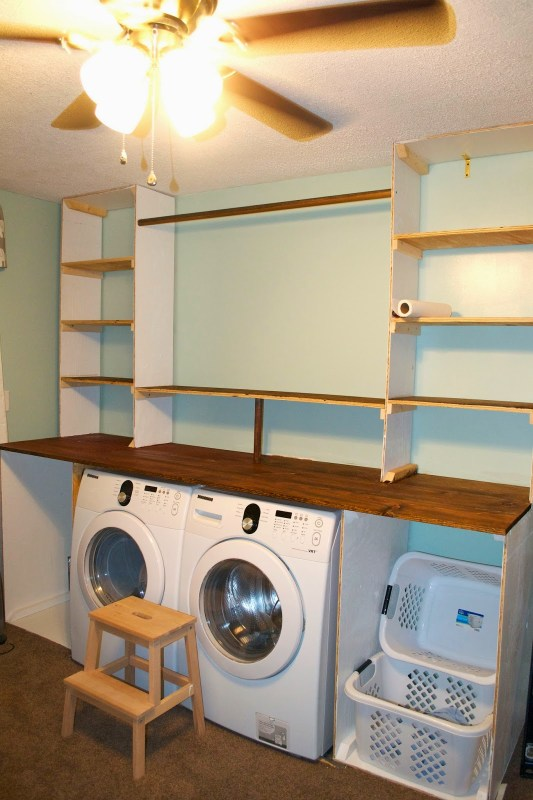 Building the laundry unit 07, Seesaws and Sawhorses on Remodelaholic