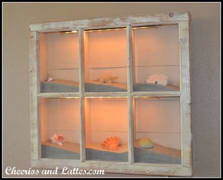 Cheerios and Lattes - lighted shadow box from old window - via Remodelahohlic