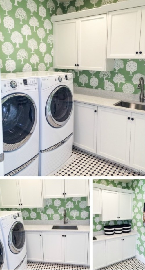 Cute laundry room with fun wallpaper