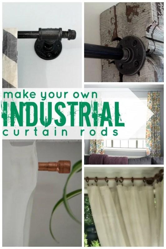 DIY Industrial Curtain Rod Tutorials on Remodelaholic.com #AllThingsWindows #curtains #hardware #industrial