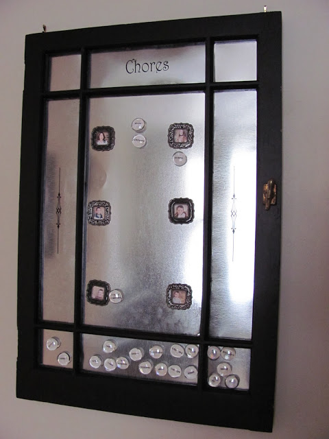 Decor Allure - old window in magnetic chore chart - via Remodelaholic