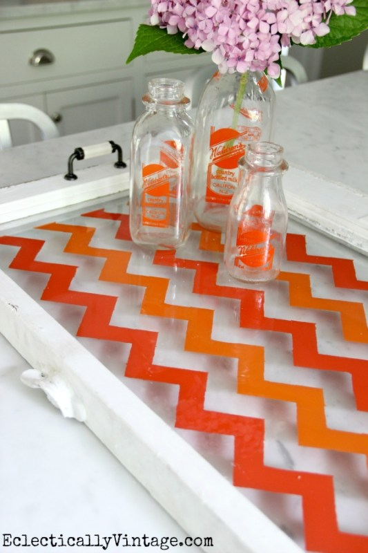 Eclectically Vintage - turn an old window into a tray - via Remodelaholic