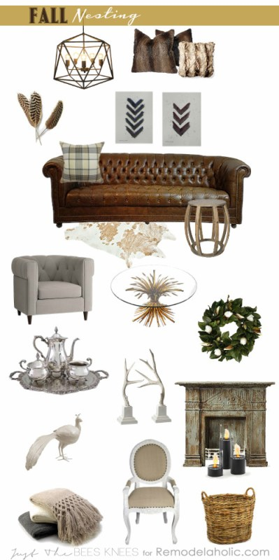 Fall Nesting with Just The Bees Knees for Remodelaholic.com #moodboard #autumn #neutrals #nature