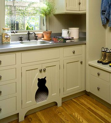 Hidden littler box in laundry room/mudroom