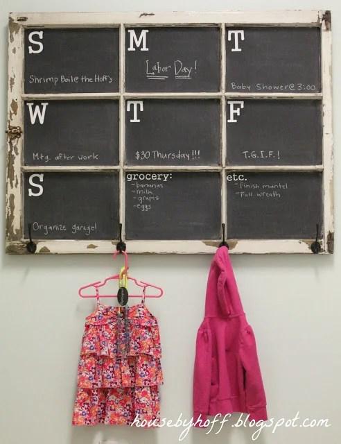 House by Hoff - old paned window into chalkboard weekly calendar and coat hooks - via Remodelaholic