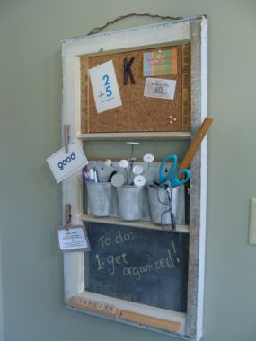 Junk Market Style - old window into command center - via Remodelaholic