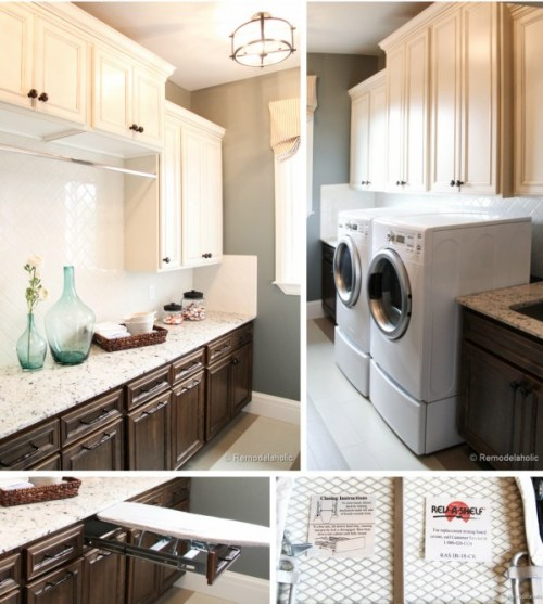 Large laundry room with pull out iron board drawer idea featured on remodelaholic.com