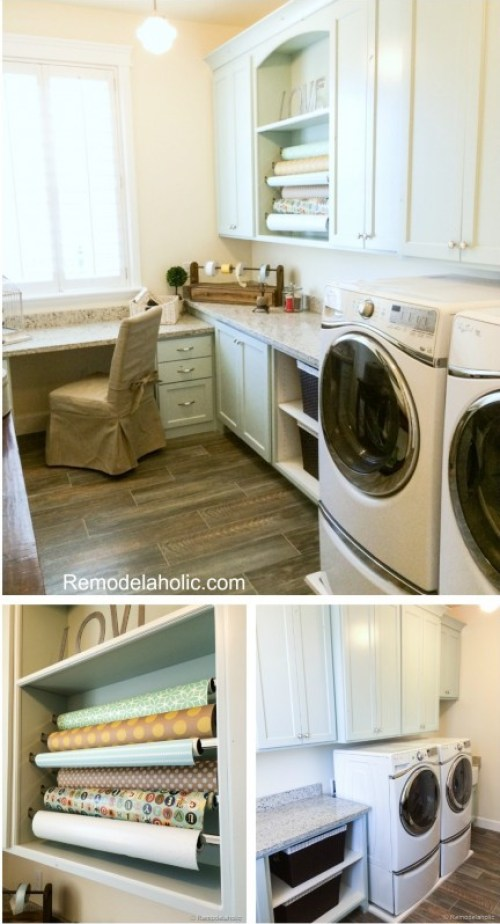 Laundry Room with gift wrapping center Fabulous Laundry room design ideas from @Remodelaholic (76 of 103)