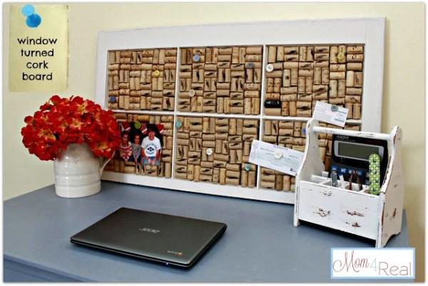 Mom 4 Real - old window turned wine cork board - via Remodelaholic