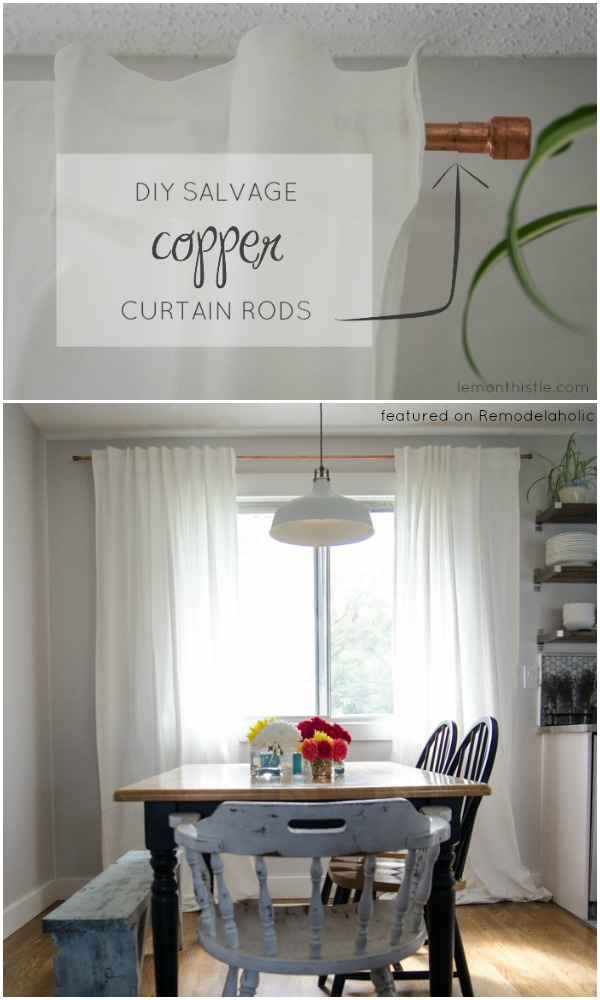 upcycled copper pipe curtain rod