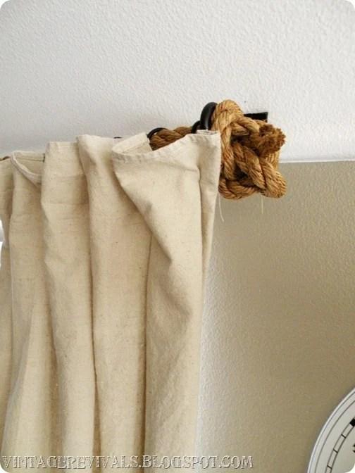 Vintage Revivals rope curtain rod via Remodelaholic