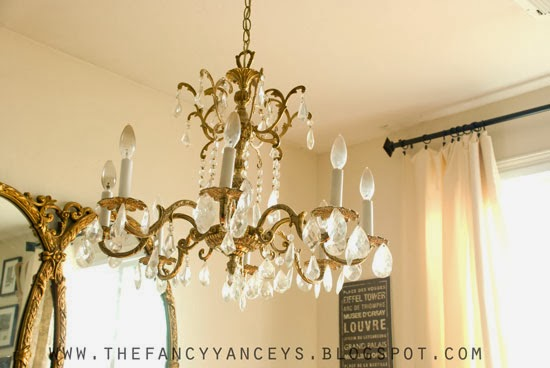 chandelier before, Vintage Romance Style featured on Remodelaholic