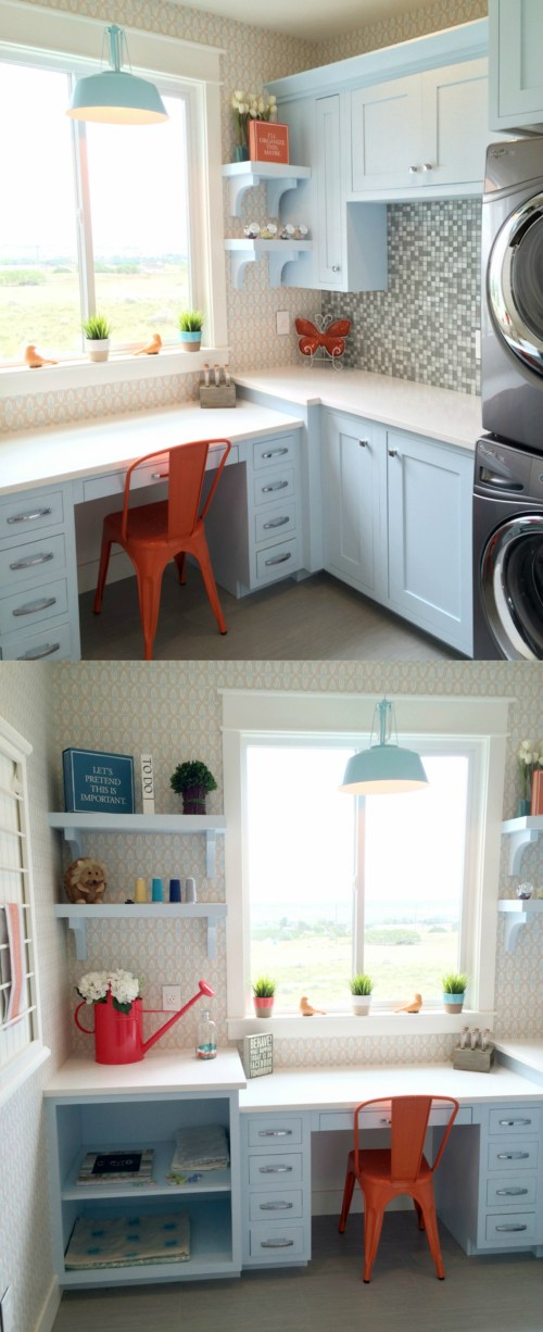 compact craft and laundry room