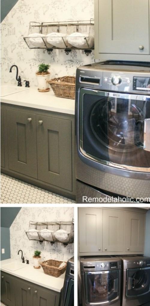 conception mignonne de salle de lavage de grenier de chalet décrite sur Remodelaholic.com