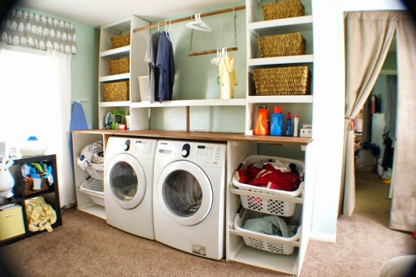 diy laundry unit, Seesaws and Sawhorses on Remodelaholic
