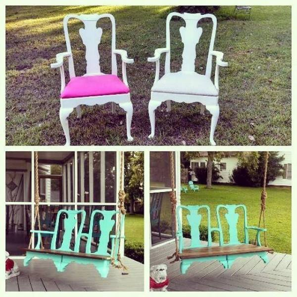 Porch Swing from 2 Chairs | Reader projects featured on Remodelaholic.com #diy #remodelaholic
