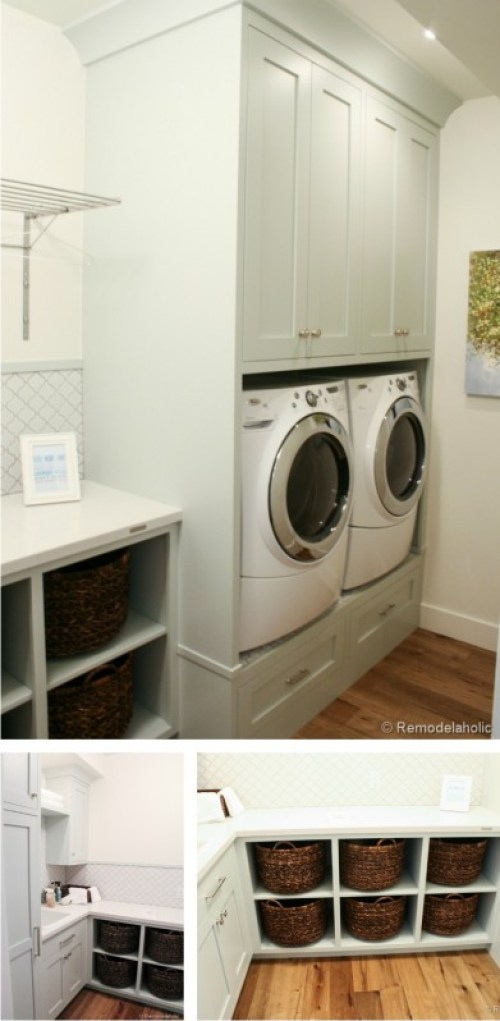 great laundry with built-in baskets and storage
