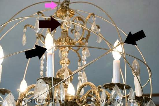 how to create a crystal orb chandelier like Restoration Hardware step 5, Vintage Romance Style featured on Remodelaholic