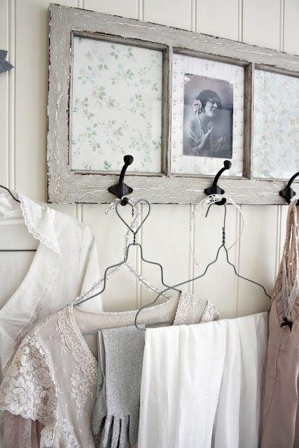 source unknown - old window into coat hanger or display hooks - via Remodelaholic