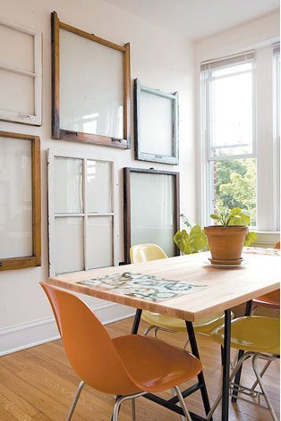 via Apartment Therapy - old window wall collage - via Remodelaholic