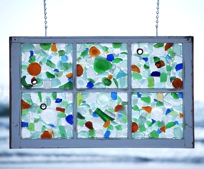 via Completely Coastal - sea glass in an old window - via Remodelaholic