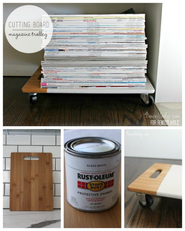Upcycled Magazine Trolley | 4men1lady on @Remodelaholic #DIY #repurpose #organize