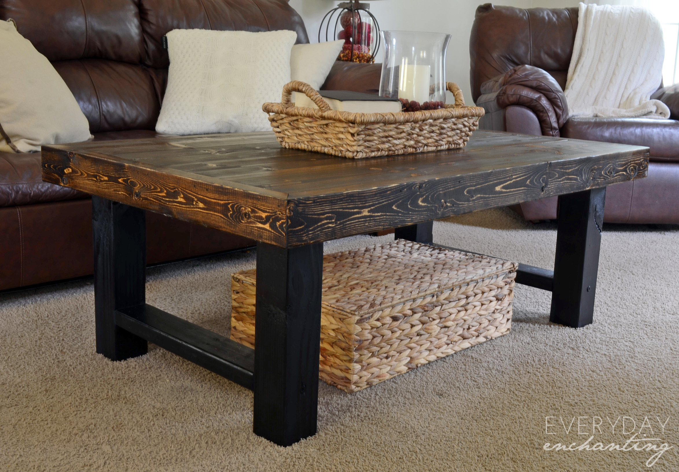 diy simple wood slab coffee table