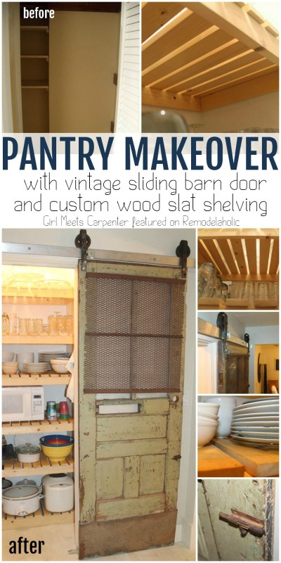 DIY Pantry Makeover with Vintage Sliding Barn Door and Custom Wood Slat Shelving   Girl Meets Carpenter on @Remodelaholic #beforeandafter #pantry #barndoor #diy