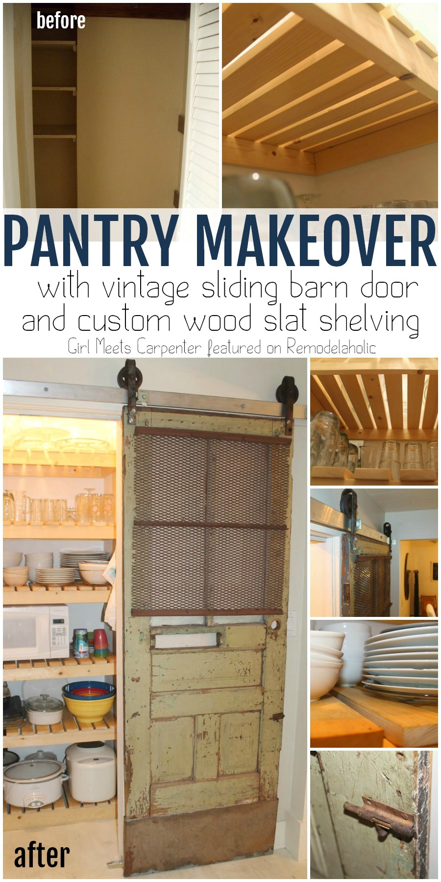 Remodelaholic Sliding Barn Door Pantry Makeover With Wood Slat Shelves