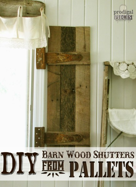 DIY barnwood shutters made from pallets, Prodigal Pieces on Remodelaholic