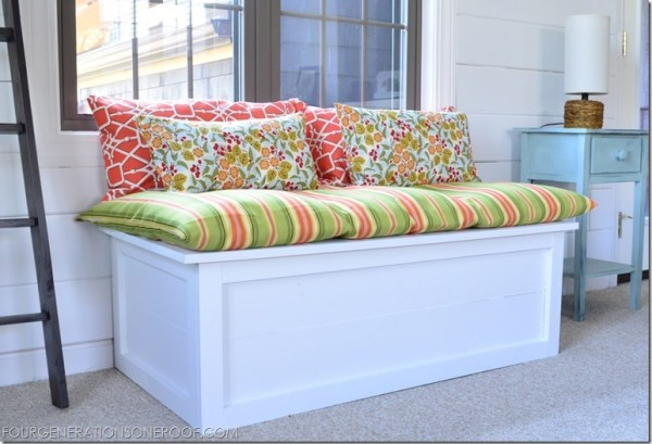 Four Generations One Roof - how to build a window seat bench with storage via @Remodelaholic
