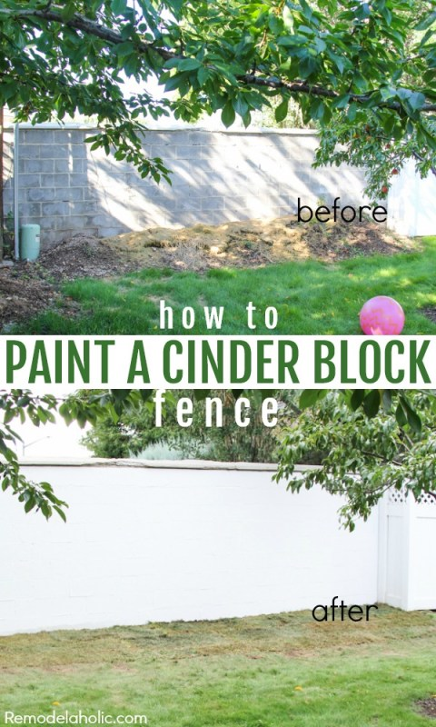 Fixing and old cinder block wall/fence patch and painting with Drylok @Remodelaholic